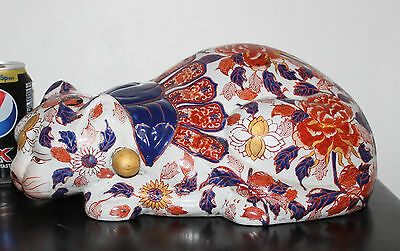 """A Giant 13.6"""" Superb Chinese Imari Cat in Lying Down position Signed"""