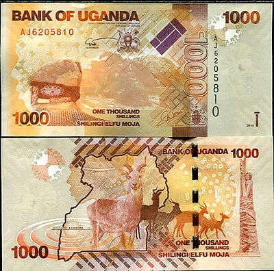 Uganda 1000 1,000 Shillings 2010 P 49 Unc Lot 20 Pcs