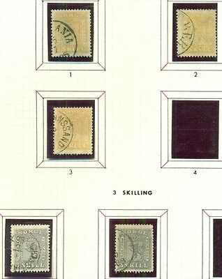 NORWAY 1863 Coat of Arms TYPE Collection (Sc#6-10) used, 55 stamps Scott $6,786+