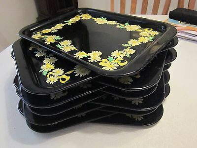 "Vintage Metal Trays Black With Yellow Daisies 14 3/4"" X 10 3/4"" Lot Of 11"
