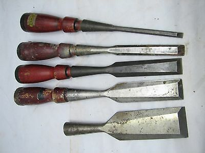 Set 5 Stanley Bevel Edge No. 750 Socket Chisels Wood Working Carving Tool
