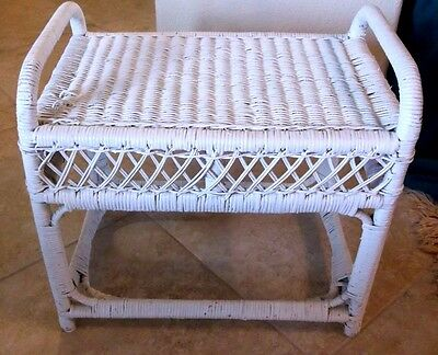 Vintage Wicker Rattan Bench Foot Stool Luggage Stand Beautiful White Country