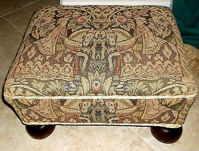Vintage Medieval Wood Legs Pattern FABRIC Top OTTOMAN Foot Rest BENCH Stool