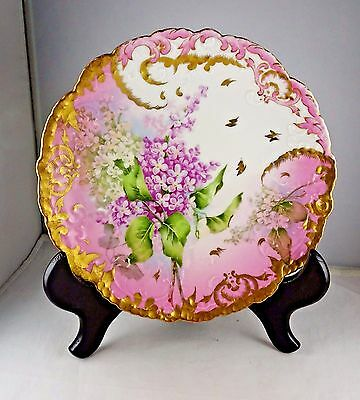 Antique Porcelain Cabinet Plate - Hand Painted Pink & Purple Floral w/Gold