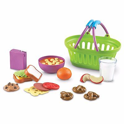 Childrens Picnic Lunch Basket Foods Toys Toddlers Learning Game Kids Play Set