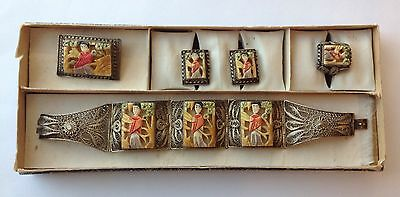 Vintage Chinese Silver Filigree Panel Carved Painted Plaques Bracelet Box Set