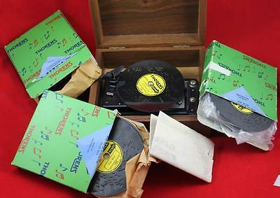 Vintage Thorens AD30 Music Box w 15 Song Discs Works + Paperwork Christmas Songs