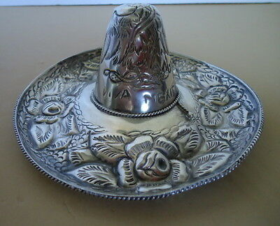 Sterling Silver .925 & Repousse Viva Mexico Sombrero with Eagle & Serpent Signed