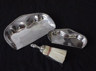 antique sterling table broom and two pick up dust silver plated