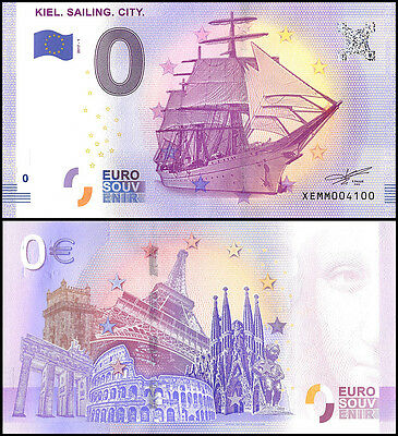 Zero (0) Euro Europe, 2017 - 1 (1st Print),UNC,Ship,Kiel Sailing City in Germany