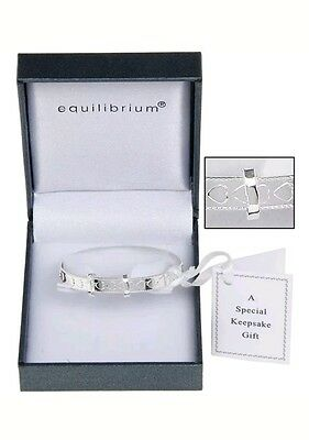 Silver Plated Heart Christening Bracelet Baby Bangle Equilibrium Gift