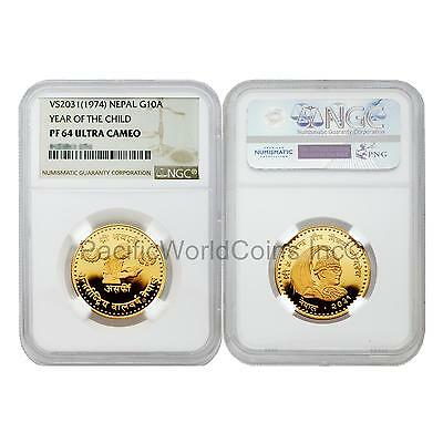 Nepal 1974 (VS2031) Year of Child 10 Asarphi Gold NGC PF64 Ultra Cameo