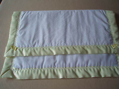 Handmade Baby Bedding-White Cover/Quilt & Yellow Satin Binding-Crib/cradle