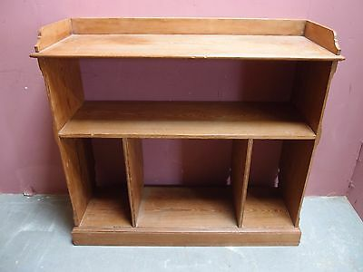 Antique Victorian Solid Pitch Pine Bookcase Buffet With Shelves