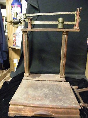 Antique Howe Platform Scale 2 Beam Brass? Parts or Repair (4Z)