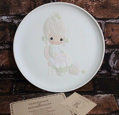 Vintage 1980 Precious Moments Plate Dish Mother Sew Dear Home Decor
