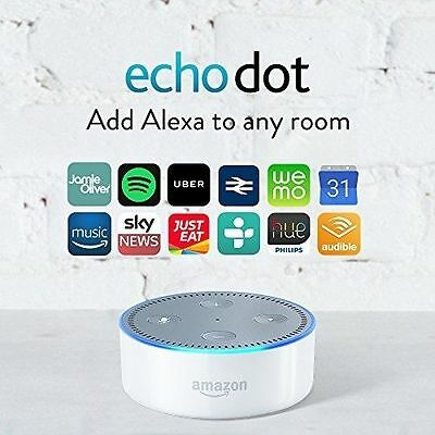 Amazon ECHO DOT WHITE alexa 2nd Generation speaker voice activated FREE DELIVERY
