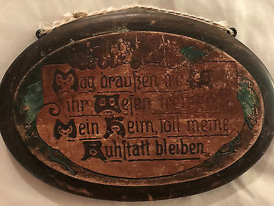 """Antique German Wood House Blessing Hand Painted Oval Folk Art Hanging 6.5"""""""