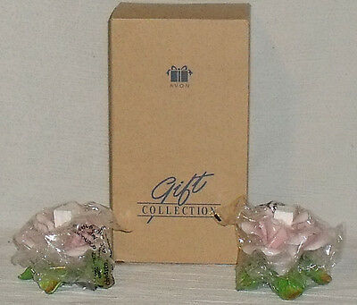 Avon Candle Holders Rose Blossom Taper Gift Collection New in Box Vtg