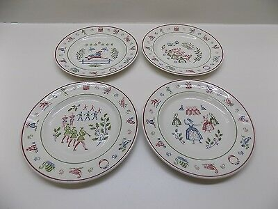 Johnson Brothers TWELVE DAYS OF CHRISTMAS Set of 4 LUNCH PLATES SALAD England