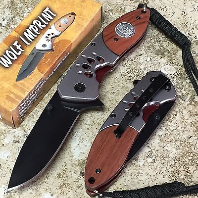 "8"" Wolf Imprint Assisted Open Pocket Knife With Cord NEW 300272-WF zix1"