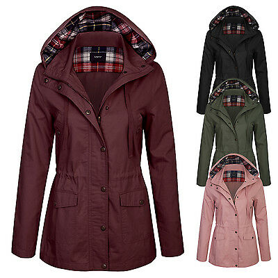 Women's Military Anorak Lightweight Jacket with Checker Lining Hood S,M,L
