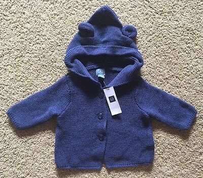Baby Boy 0-3 Month Baby Gap Blue Hooded Bear Knit Sweater Jacket Hoodie