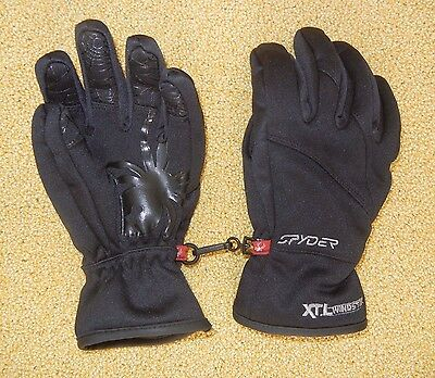 SPYDER Black Warm WINTER GLOVES Ski Snow Board Size Kids YOUTH SMALL Girl Boy