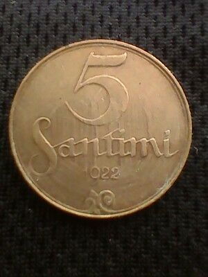 1922 Latvia 5 Santimi (No Mint Name), KM#3 - Bronze Coin