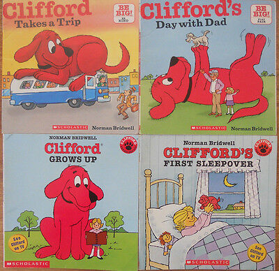 Clifford Bulk Book Pack - 4 Books - Bridwell - Trip Dad Grows Sleepover