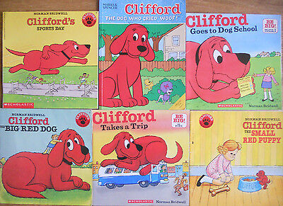 Clifford Bulk Book Pack - 6 Books - Bridwell - Sports Woof Dog Trip Puppy