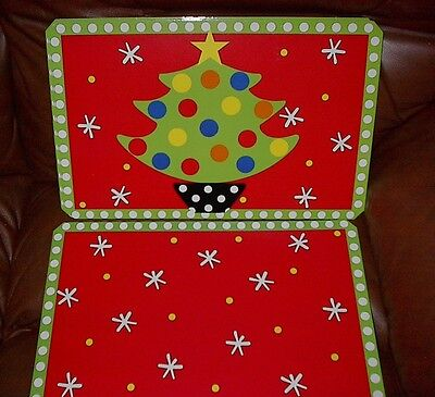 Mainstreet Collection Christmas Tree Laminated Placemats-Set Of 6-New