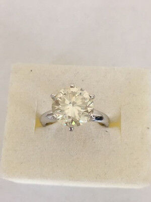 SOLITAIRE 14k white gold round ENGAGEMENT RING 2.5 ct. Moissanite 9mm