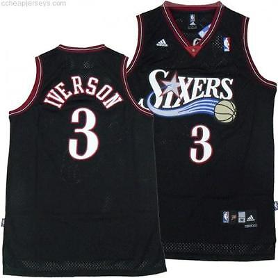 Allen Iverson Philadelphia 76ers Black Throwback Swingman Basketball Jersey Men