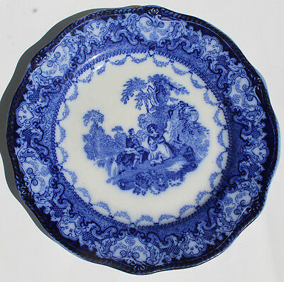 """Antique Flow Blue Dinner Plate Watteau NWP Co England 9"""" Embossed"""