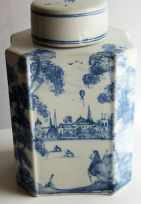 Blue & White Oxford Collection Porcelain Tea Caddy Hand Painted England