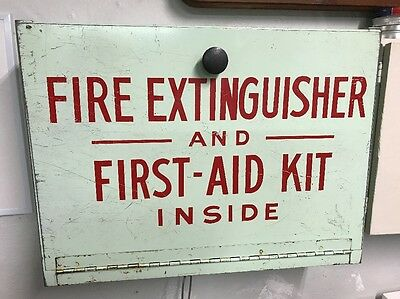 Vintage Fire Extinguisher & First Aid Kit Metal Safety Box Used On School Bus