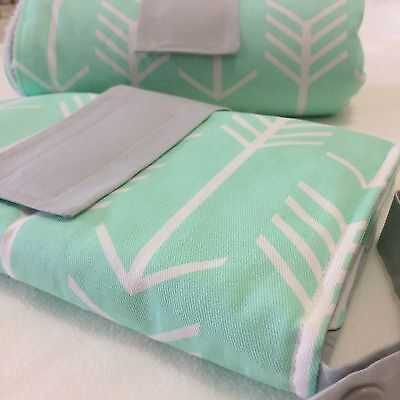 Nappy Clutch/ diaper wallet in Mint and white arrows and grey