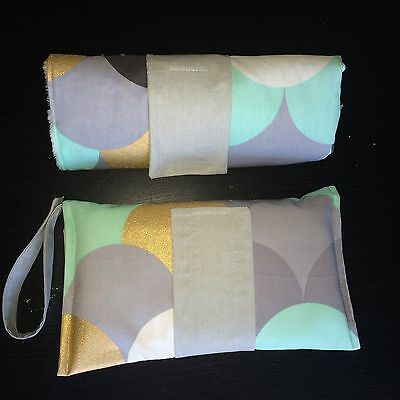 Large Waterproof Change mat and nappy Clutch/wallet set in Grey, Gold, Mint