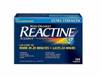 REACTINE Extra Strength Allergy - 144 Tablets. Non Drowsy. Expiry Date Oct 2018