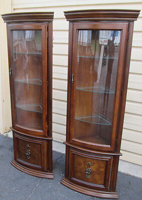 58318 PAIR Oak Corner Curio Lighted Cabinet s with Bow Glass