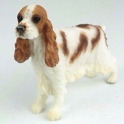 """Cocker Spaniel Dog in White & Red - Collectible Figurine Miniature 4.5""""L New"""