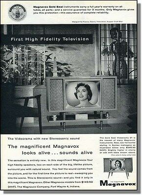 1956 Magnavox High Fidelity Television TV Photo-Ad