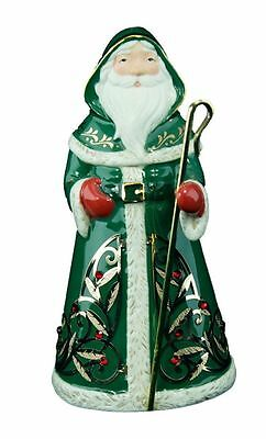 Festive Santa Premium 2016 Hallmark Ornament Porcelain  Metal Staff  Green  Gold