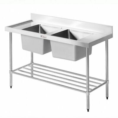 Simply Stainless Sink Double Bowl with Pot Rail & Splashback 2400x600x900mm