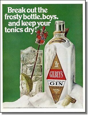 1969 Gilbey's Dry Gin - Frosty Bottle Print-Ad