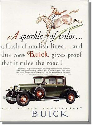 1928 Silver Anniversary Buick rules the road color car-ad