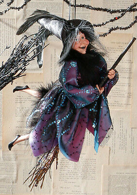 "RAZ Imports 15"" Hanging/Flying Witch On Broom Ornament - Halloween Collectible"