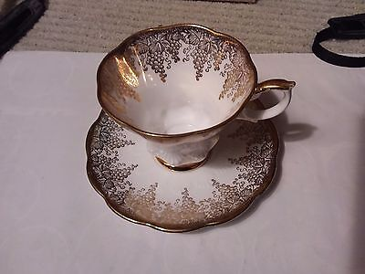 Royal Albert Teacup And Saucer  - White And Gold