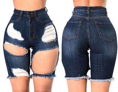 US Stock Wome High Waist Hot Pants Ripped Middle Jeans Denim Casual Shorts